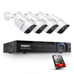 TMEZON Ultra HD 4K Security Camera System 4×8MP Surveillance Camera with 4 Channel DVR Kit, Night Vision, Weatherproof Protection, with 2TB HDD