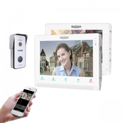"TMEZON 4 Wires System Video Doorbell System, Connect to Door Lock, 2-Way Audio, 10"" IP Monitor&7""Non-IP Monitor+720P Doorbell Camera"
