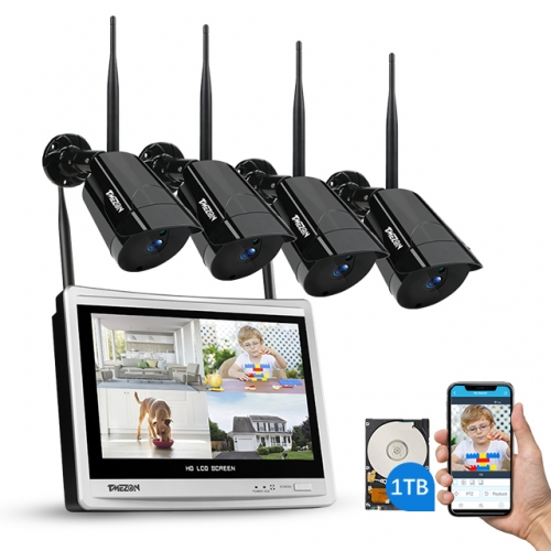"All in One TMEZON Wireless Security Camera System with 12"" Monitor and 4CH 1080P Surveillance IP Camera, Remote Access, 1TB HDD Included"