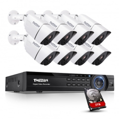 Ultra AHD TMEZON Surveillance Camera System with 8CH 4K H.265 DVR and 8 pcs 8.0MP Bullet Camera, Motion Alert, 24/7 Recording,Pre-installed 2TB HDD