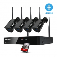 [Audio Record]TMEZON Wireless Security Camera System with 4Pcs 1080P IPC and 8CH NVR, Sound Record & Playback, Email Alert, Pre-installed 1TB HDD
