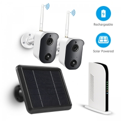 Wireless Home Security Camera System, Rechargeable Battery Powered 1080P Cameras with Solar Panel (128G TF Card), PIR Motion Sensor, 2-Way Audio