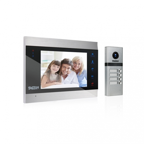 "TMEZON 4 Wired Video Intercom Door Entry System for Several Families & Apartment, 7"" Monitor & 1200TVL Camera, 2-Way Audio, Unlock, Snapshot & Record"