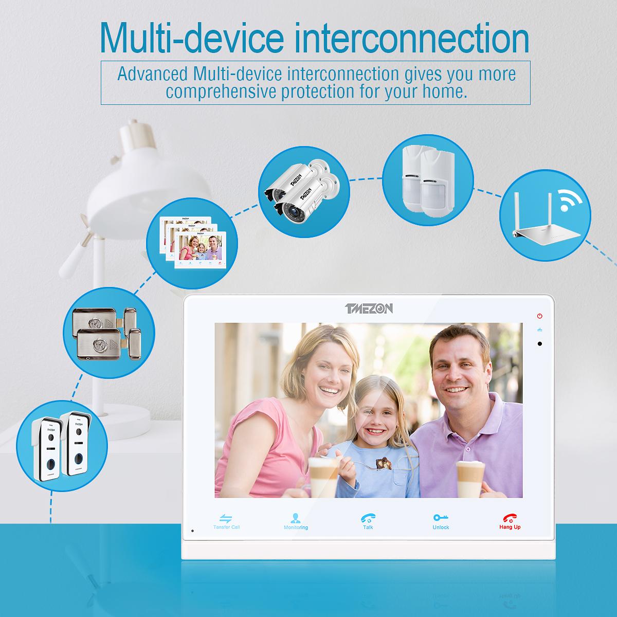 TMEZON Wireless WiFi Video Doorbell IP DoorPhone Intercom System 10/'/' Monitor
