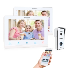 TMEZON 4 Wires System Video Doorbell System, Connect to Door Lock, 2-Way Audio, 10