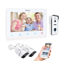 "TMEZON WIFI IP Video Intercom Door Entry System, Remote Access, Touch Screen 10"" IP Monitor +720P Doorbell+960P CCTV Camera"